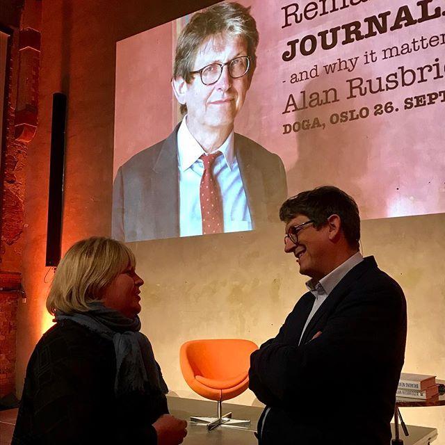 @arusbridger and @elinflo ready to discuss remaking of #journalism #editorslife #redaktørliv #alanrusbridger @netthoder @nrkbeta #osloredaktørforening
