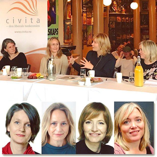 Bra firkløver av NR-medlemmer på #civitafrokost i dag #hvemvinnervalget #umuligåsvaresikkert #redaktørliv #cafechristiania