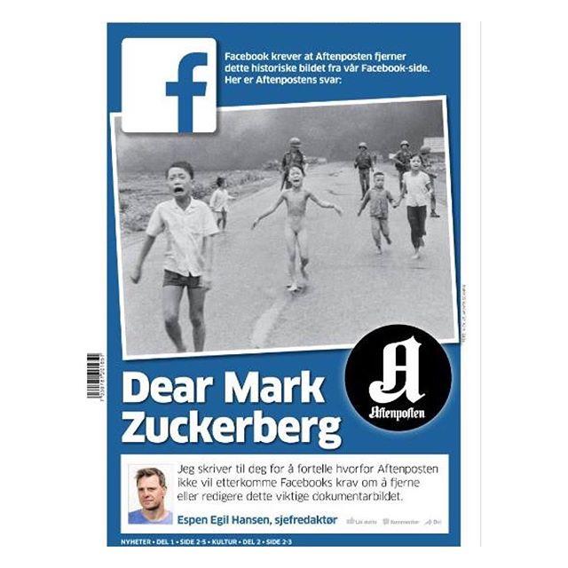 @eghan i @aftenposten skriver åpent brev til Mark Zuckerberg i og forklarer hvorfor #aftenposten ikke vil etterkomme @facebook sitt krav om å gjern...