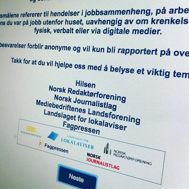 I dag har vi sendt ut undersøkelsen om seksuell trakassering til 730 redaktører. @norskjournalistlag har sendt til alle sine medlemmer og @mediebed...